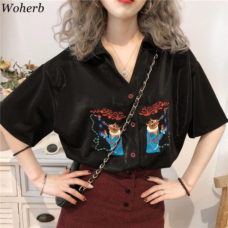 Woherb 2020 Womens Tops And Blouses Modis Tiger Embroidery Shirt Ladies Vintage Black Summer Tops Loose Blusas Femininas 21944