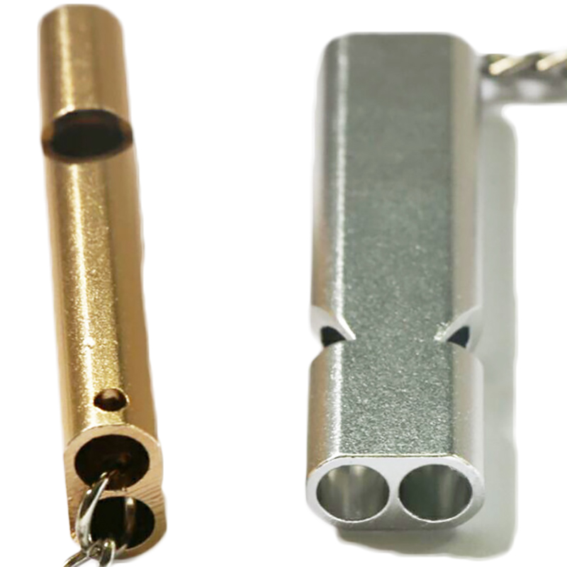 Fashion Design Pocket Aluminum Alloy Double Tube Whistle Defensa Personal Outdoor Sports Emergency Survival Rescue Supplies