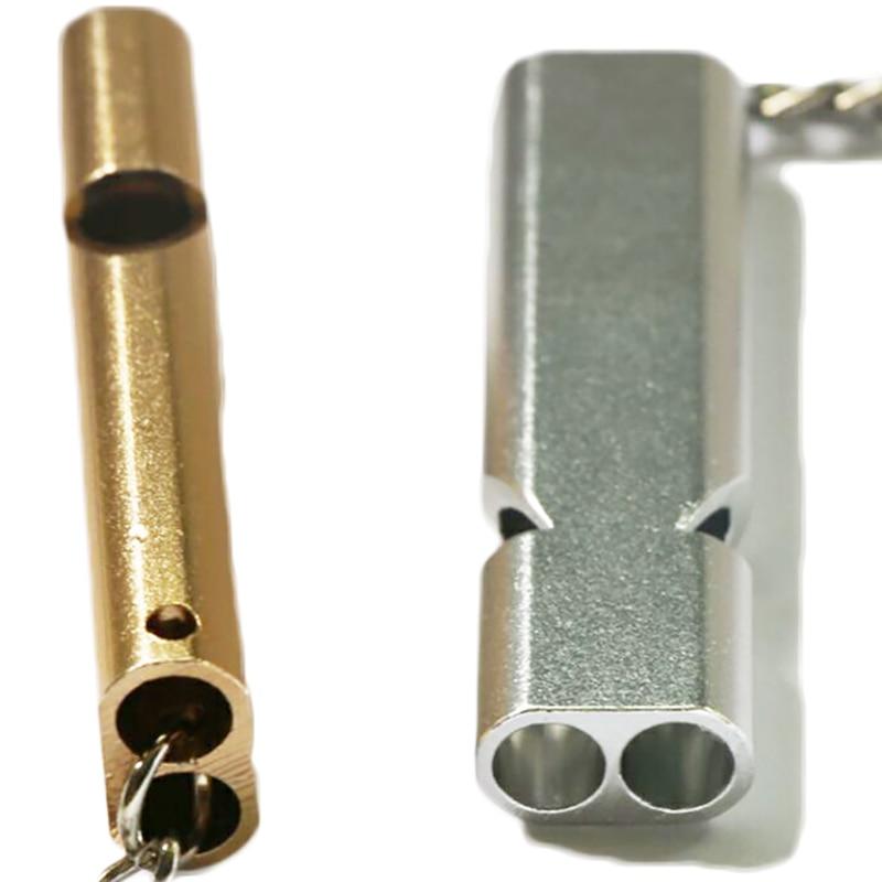 Fashion Design Pocket Aluminum Alloy Double Tube Whistle Defensa Personal Outdoor Sports Emergency Survival Rescue Supplies