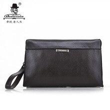 New 2016 Luxury Famous Brand Men Genuine Leather Clutch Bag England Style Wallet Passport Purse Big Handbags With Zipper