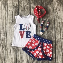 Summer design baby girls baseball print season style boutique love ruffles cotton shorts outfit clothes matching