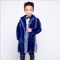 Children Whole Real Rabbit Fur Coat Autumn Winter Warm Long Boys Fur Coat V Neck Thicker Warmer Clothes Natural Casual CoatsCN#1