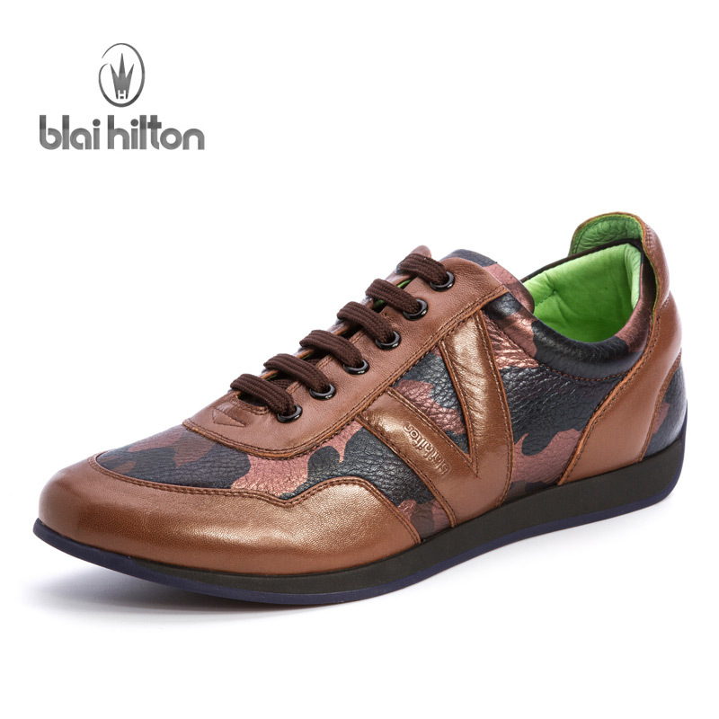 Blai Hilton New Fashion 100% Luxury Genuine Leather Spring/Autumn men shoes Breathable/Comfortable Men's Casual Shoes aiyuqi 2018 new spring genuine leather female comfortable shoes bow commuter casual low heeled mother shoes woeme