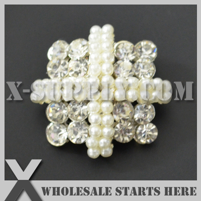 Dhl Free Shipping Square Pearl Rhinestone Embellishments Button With