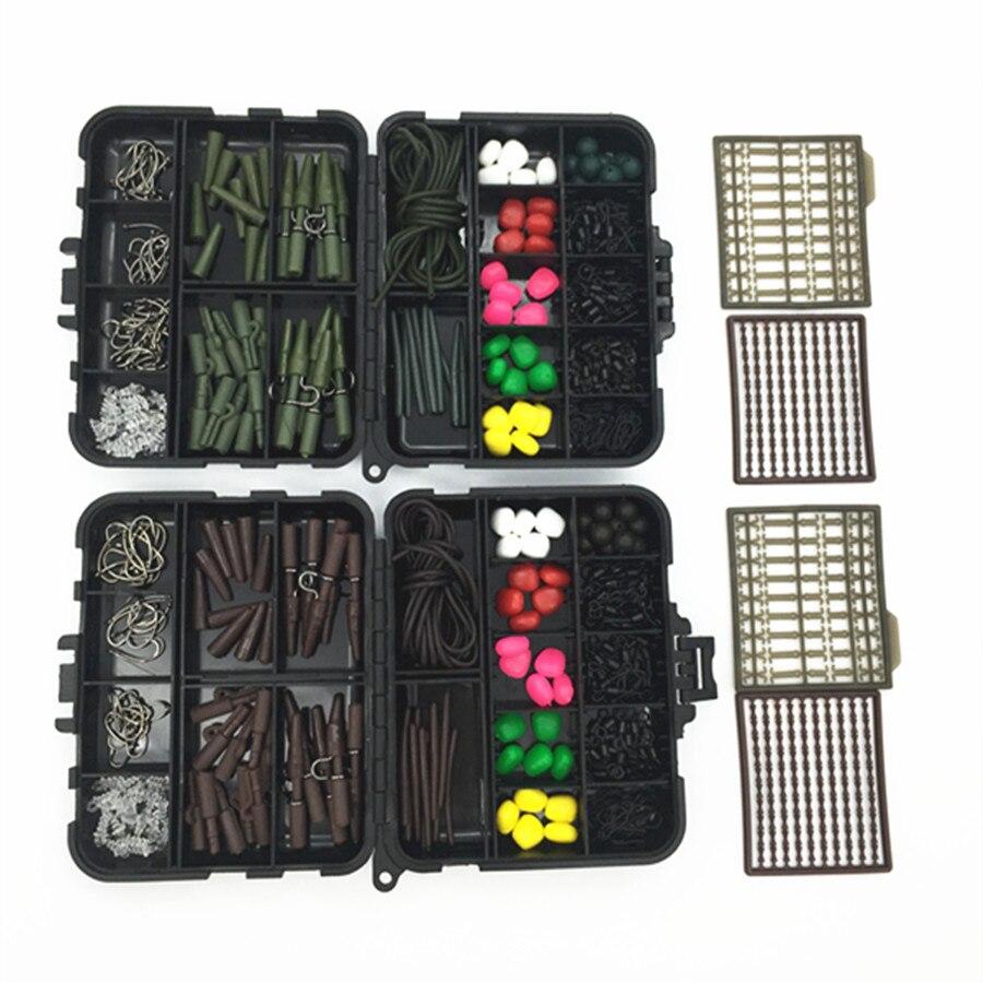 183Pcs//Set Fishing Tackle Box Carp Kit Beads Hooks Swivels Lead Set Clips Tubes