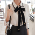 2017 Spring Fashion female elegant bow tie white blouses Chiffon casual shirt Ladies tops school blouse Women Plus Size