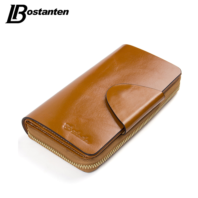 BOSTANTEN Real Genuine Leather Women Wallets Brand Designer High Quality Cell phone Card Holder Long Lady Wallet Purse Clutch nawo real genuine leather women wallets brand designer high quality 2017 coin card holder zipper long lady wallet purse clutch