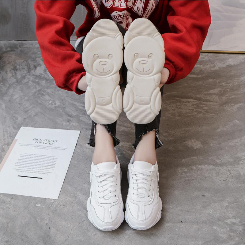 Genuine Leather Women Sneakers White Shoes Platform Bear Woman Casual Shoes Flats Brand Spring Autumn Female Running Shoes Warm 5