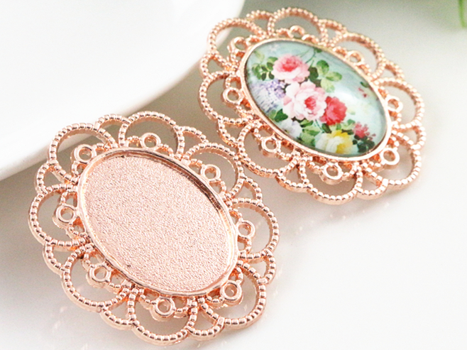 5pcs 18x25mm Inner Size Rose Gold Flower Style Cameo Cabochon Base Setting Charms Pendant Necklace Findings (C1-21)