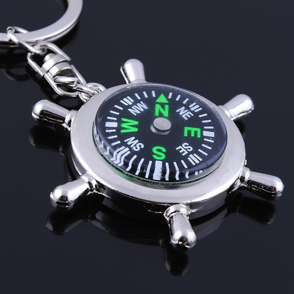 Zinc Alloy Keychain Steering Wheel Compass Mens Pendant Creative Practical Gift
