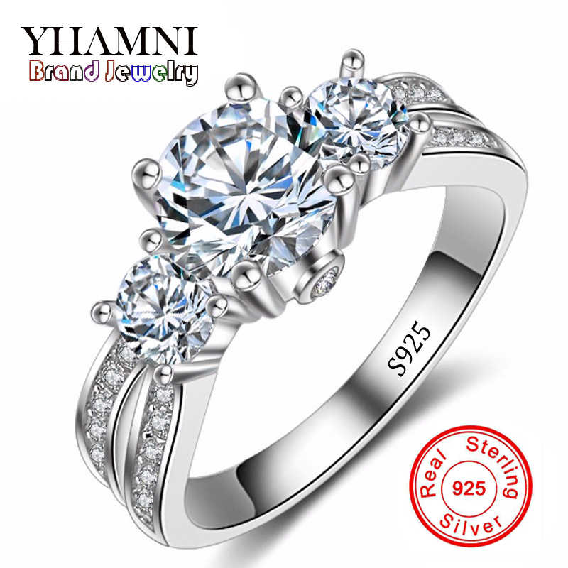 Fine Jewelry Ring Silver Real 925 Sterling Silver Wedding Rings Set 1 Carat SONA CZ Diamant Engagement Rings For Women AR036