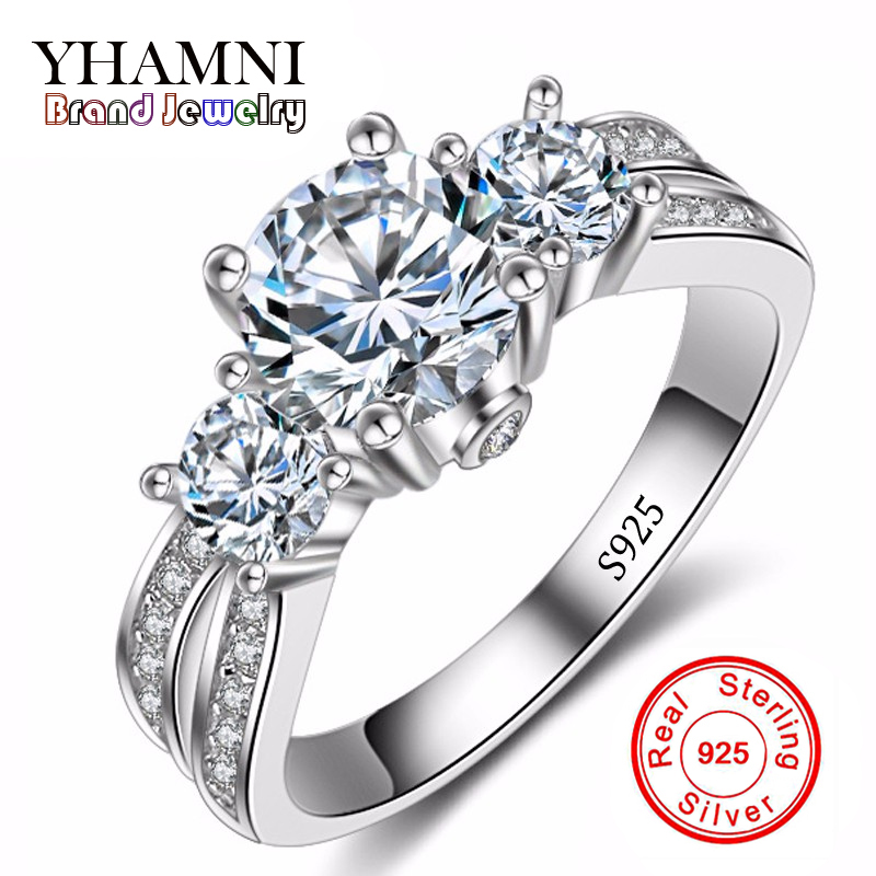 Fine Jewelry Ring Silver Real 925 Sterling Silver Wedding Rings Set 1 Carat SONA CZ Diamant