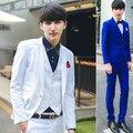 Frete grátis paletó fit 2016 new England estilo jaqueta coreano homens terno do casamento terno jaqueta dos homens de negócios blazer real azul