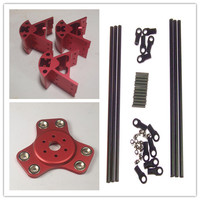 Funssor Red Color Delta Rostock Kossel k800 aluminum magnetic effector carriage+Corner kit+ 300MM Kossel Mini Rod Kit