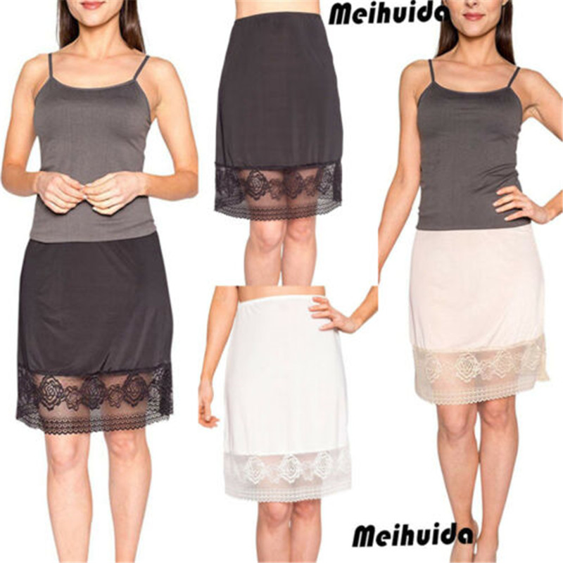 New Women's Knee Length Floral Lace Half Slips Skirt Under Under Casual  Lace Patchwork Skirts
