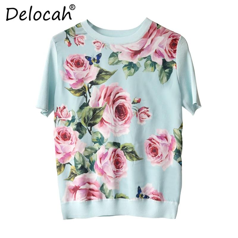 Delocah Lente Zomer Vrouwen Jas Runway Fashion Designer Korte Mouw Rose Bloem Gedrukt Elegante Slanke hipster cool Ladys tee-in T-shirts van Dames Kleding op  Groep 2