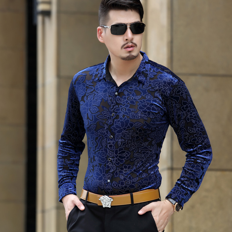 Aliexpress.com  Buy 2017 Autumn Flower Print Transparent Shirts Men See Through Shirts Club ...