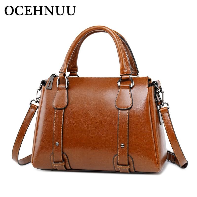 OCEHNUU Fashion Luxury Woman Bag 2018 Genuine Leather Handbag Crossbody Bags For Women Solid Zipper Ladies