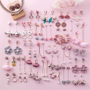 3# 2019 sweet pink girl heart flower earrings fringed pearl earrings jewelry fabric pink flower earrings christmas earrings gift