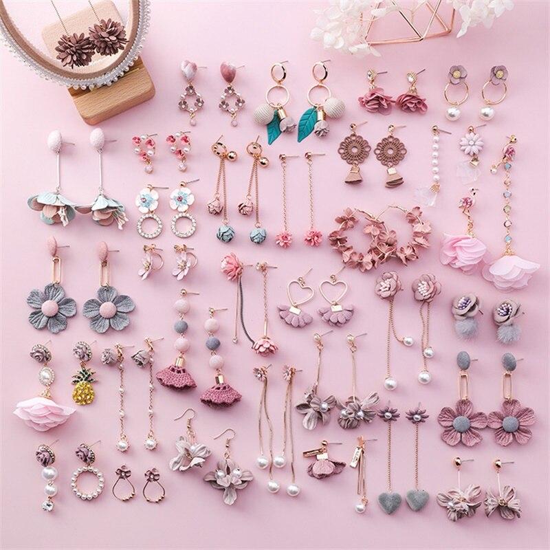Серьги в форме сердца и цветка для девочек 3 #2019 серьги с бахромой и жемчугом Ювелирные изделия Серьги из ткани с розовым цветком рождественские серьги подарок|Серьги-гвоздики|   - AliExpress
