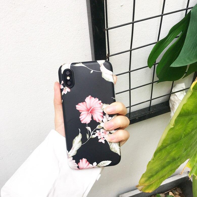 Designer Vinage Flowers Floral imd Matte Soft TPU Back Cover Case For iPhoneX 8/6s 7plus Skinny Shell Protection