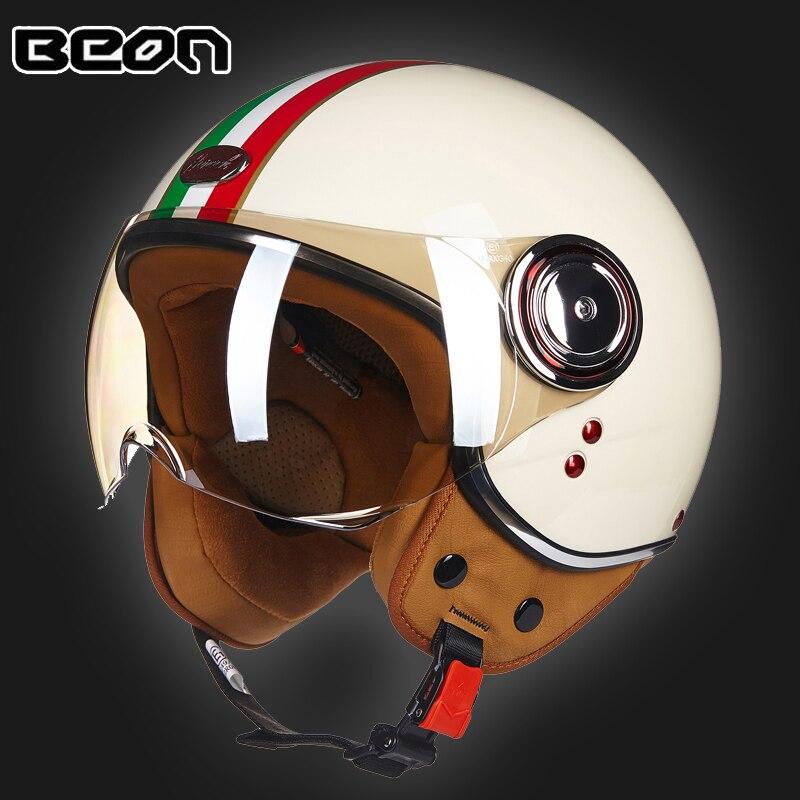 BEON Men Women Motorcycle Helmet Chopper 3 4 Open Face Vintage Helmet Moto Casque Casco Capacete