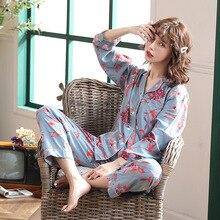 Feier 2pcs Fashion Women Pajamas Set Kawaii Cartoon Print Pyjamas Cotton Casual Sleepwear Female Sets NightSuit