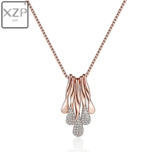 XZP Rose Gold Plate Necklace with Austrian Crystal Paved Necklace Fashion Jewelry For Women Pendant Chocker valentine's Gifts azora my fox lady rose gold color austrian rhinestone paved fox pendant necklace and earring set tg0074