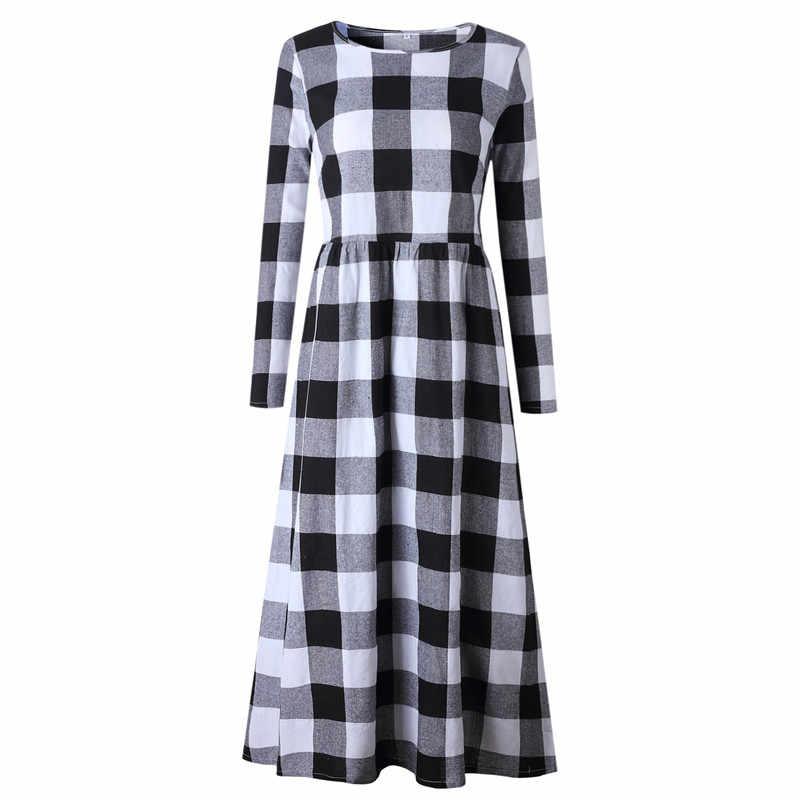 платье женское весна осень сарафан женский платья больших размеров клетчатое платье с длинным рукавом уличный стиль платье в клетку длинные платья и сарафаны повседневное платье комбинация одежда для женщин 100058