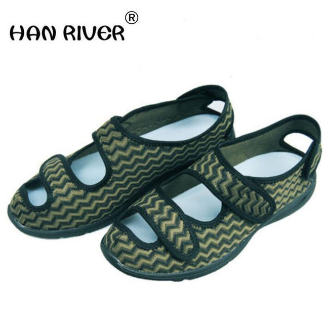 74e4f7a65bce3 2018 summer men s Comfortable Diabetic Shoes Foot enlargement code magic  stick overturns middle-aged and elderly sandals