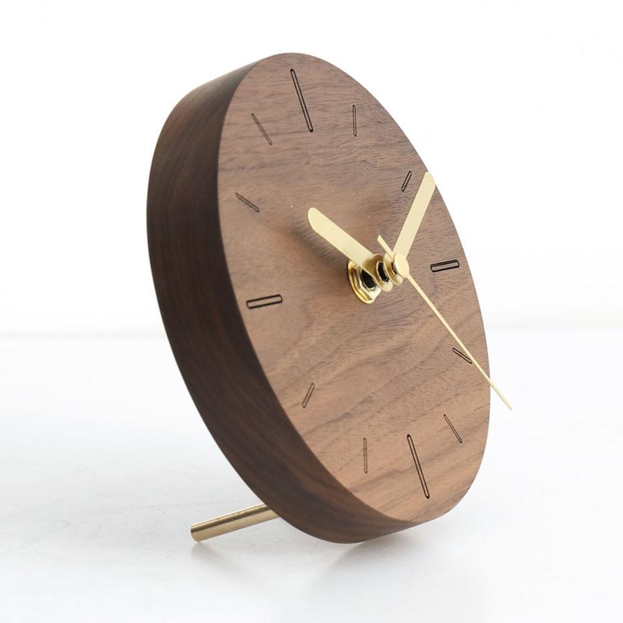 Horloge de bureau électronique Style japonais horloge Simple Design créatif muet horloge de bureau décorative horloge en bois massif 50Y031 - 2