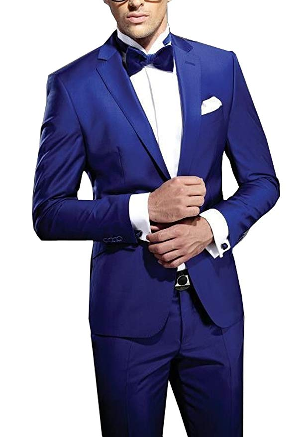 Men Suit 2 Pieces One Buttons Blazer Formal Slim Fit Groom Tuxedos Notched Lapel Men's Wedding Suits Two Pieces Groomsmen Suit