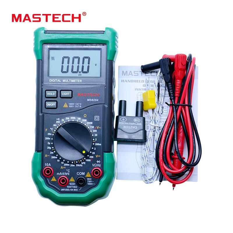 MASTECH MS8264 Handheld DMM Digital Multimeters Temperature Capacitance tester multimetros multimetr multitester 1 pcs mastech ms8269 digital auto ranging multimeter dmm test capacitance frequency worldwide store