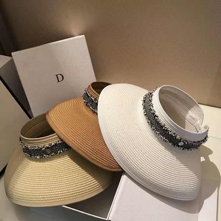 Summer New Style College Style Topless Hat Large Brimmed Travel UV Sun Hat Korean-Style Diamond Set Fashion Face Cap Female