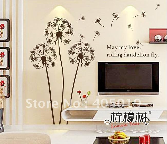 45 53 Dm5730 Dandelion Wall Stickers Home Decoration 50 70cm Transparent Room Paper Removable Pvc Tv Blackground Painting Mixable En Adhesivos