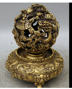 Медь латунь китайский ремесла Decor Ation Азии 10 Китайский Медь народная 3 фут дома Дракон Beast фэн шуй мяч сфера Глобус