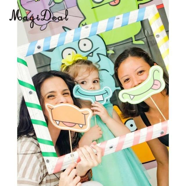 Magideal novedad 1 unid papel divertido historieta DIY raya selfie ...