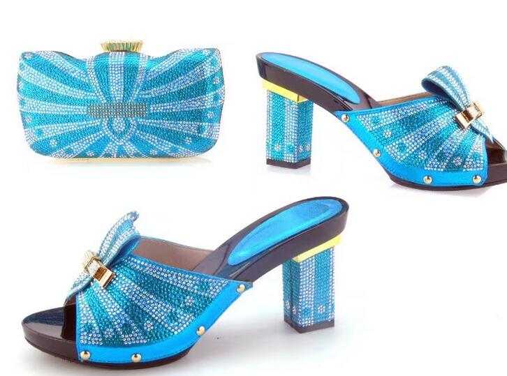 Baby blue Shoes and Bag Set Decorated with Rhinestone Nigerian Party Shoes and Bag Set