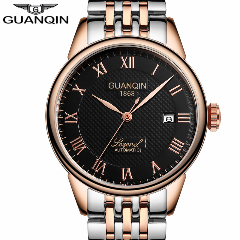 Watches Mens Top Brand Luxury GUANQIN Automatic Self-Wind Watch Date Rhinestones Steel Mechanical Wristwatches Relogio Masculino все цены