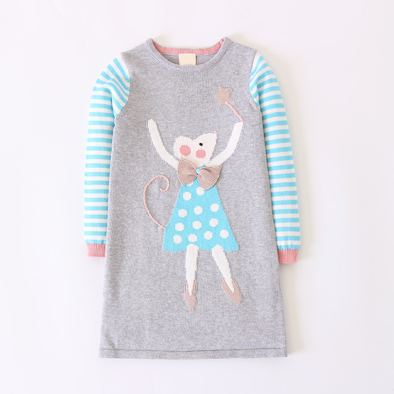 цена на Autumn Cartoon Pattern Girls Sweater Dresses,Cotton Long-sleeved Knitting Dress,Kids Warm Pullover,Spring children clothing