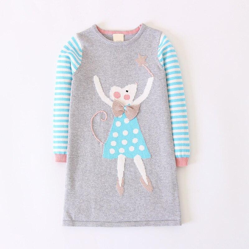 Autumn Cartoon Pattern Girls Sweater Dresses,Cotton Long-sleeved Knitting Dress,Kids Warm Pullover,Spring children clothing