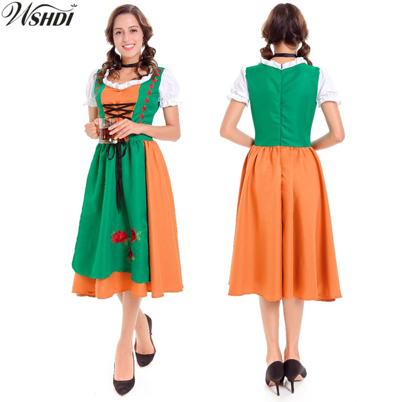 Adult Halloween Costume Women German Bavarian Beer Maid Peasant Dirndl Uniforms Oktoberfest Beer Girl Fancy Dress