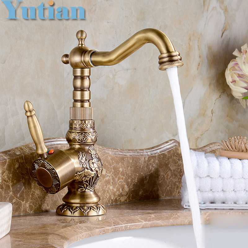 New Arrival Single Handle Bathroom Faucet Basin Carving Tap Antique Brass Hot and Cold Water Tap 360 Degree Rotating YT-5073 soild brass white painted bathroom tall basin faucet single handle dual control hot and cold water tap torneiras
