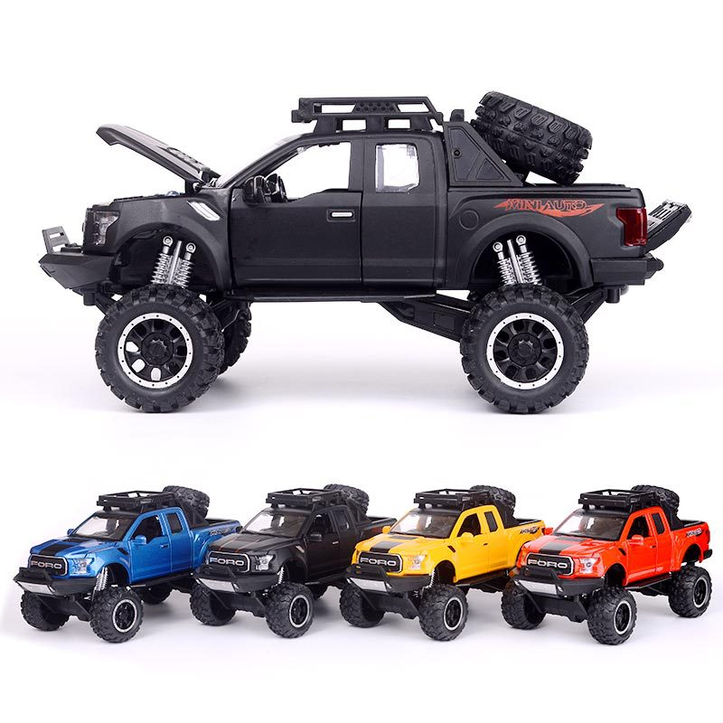 Simulation Raptor F150 off-road alloy vehicle model Electronic toy with Simulation lights Music Model Car Toy For kids gift 1:32