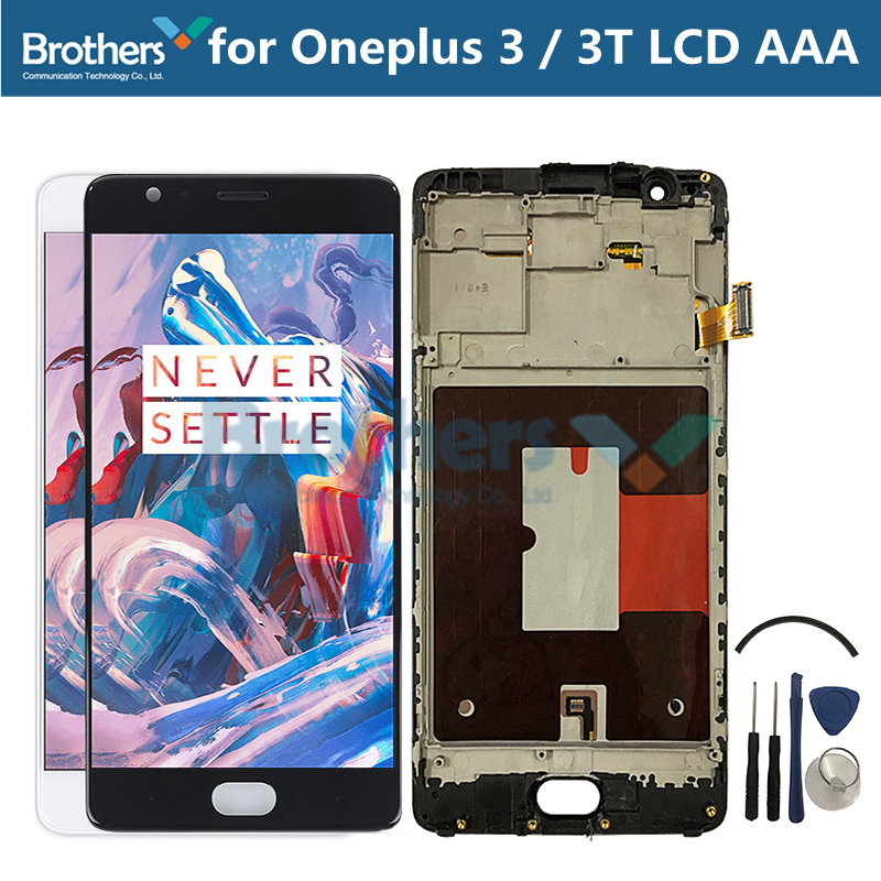 LCD Tela para Oneplus 3 3T Display LCD para Oneplus 3 3T A3000 Assembléia Touch Screen Com Frame tela de toque Digitador Teste De Tela TFT