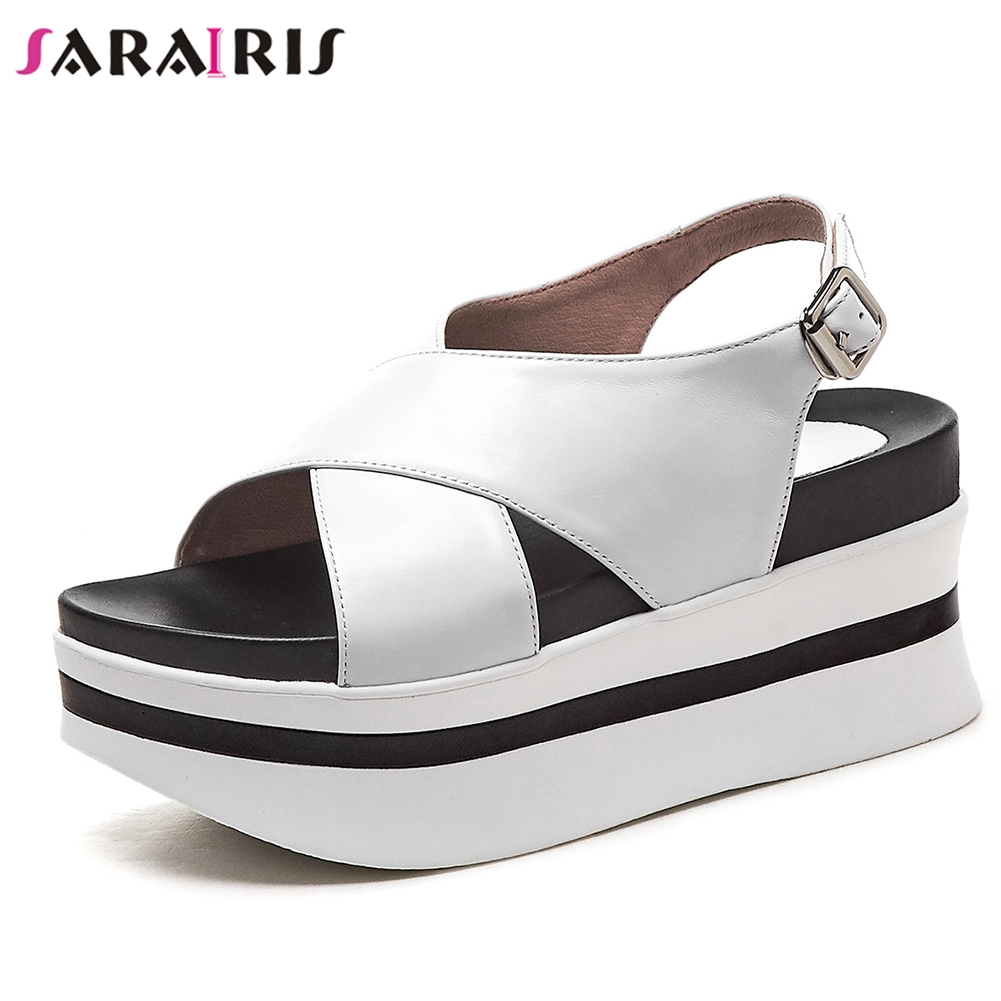 SARAIRIS 2019 New Concise Genuine Leather Shoes Sandals Woman Summer Platform Thick Heels Sandals Woman Wedges Shoes WomanSARAIRIS 2019 New Concise Genuine Leather Shoes Sandals Woman Summer Platform Thick Heels Sandals Woman Wedges Shoes Woman