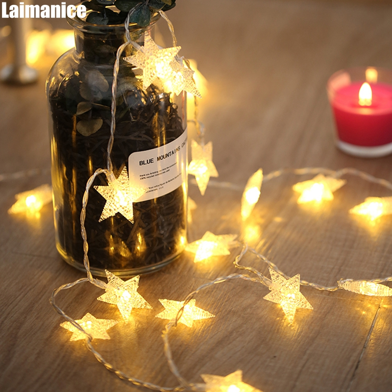 2018 new year 3m 6m 10m led star string lights fairy garland waterproof for christmas wedding home decoration battery powered Multi-Color 2M/3M/4M/5M/10M/20M Star Battery string lights led Christmas holiday Wedding new year party decoration fairy lamp