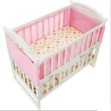 Pink Breathable Infant Baby Air Pad Cot Bumper Mesh Protection Cover Baby Toddler Baby Safety Bedding Supplies 130x70cm