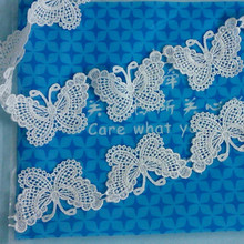 1yard/lot 5*7cm  crafts White Butterfly Flower Lace Embroidery Fabric Trim Ribbon DIY Wedding Clothing Sewing Accessories