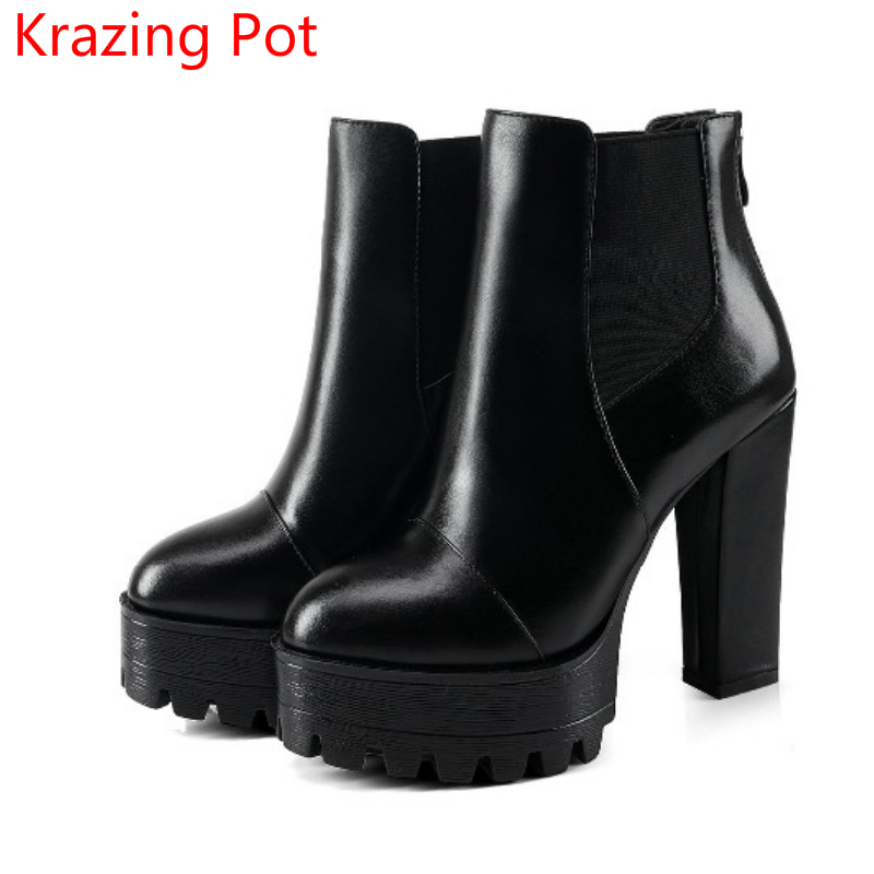 New Arrival Genuine Leather Brand Winter Shoes Pointed Toe Women Boots Platform Warm Office Lady High Heels Ankle Boots L7f1 100% genuine leather new arrival 2014 brand fashion boots vintage platform shoes short boots